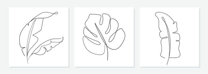 One line drawing vector monstera leaf and banana tree leaves. Modern single line art, aesthetic contour. Perfect for home decor such as posters, wall art, tote bag, t-shirt print, sticker, mobile case