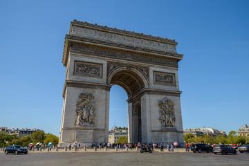 PARIS, FRANCE - JULY 14 2018: The Arc de Triomphe de l'Etoile in Paris in a summer day
