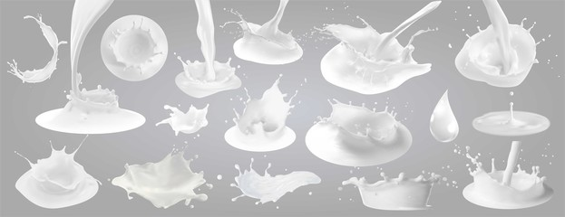 Milk splashes, drops and blots. Wall mural