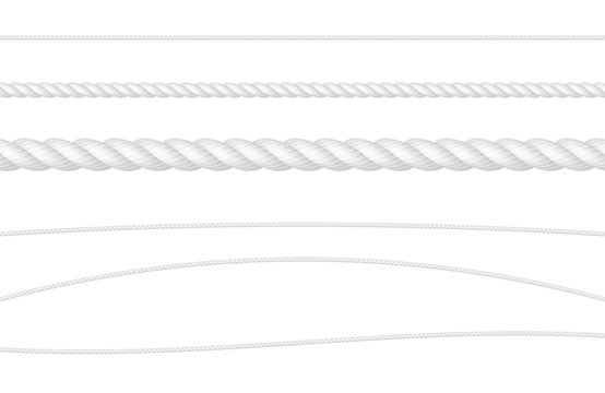 Rope String White Realistic Vector Illustration Set