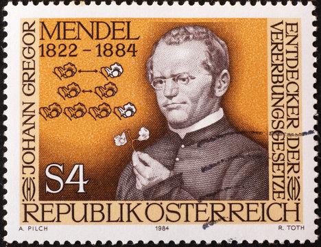 Scientist Gregor Mendel on austrian postage stamp