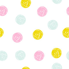 Cute hand drawn pastel seamless pattern with round shapes. Kids textile print.Vector illustration.