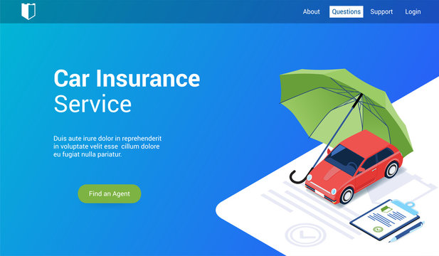Isometric landing page template for car insurance. Vector illustration mock-up for website and mobile website