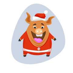 Vector pig - santa claus in a red cap and red scarf.