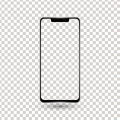 New frameless phone front black vector drawing eps10 format isolated on white background - vector
