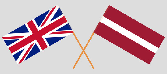 Latvia and UK. The Latvian and British flags. Official colors. Correct proportion. Vector