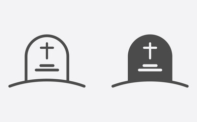 Tombstone filled and outline vector icon sign symbol