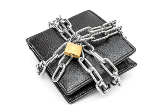 Wallet crossed by metal chain with padlock on white background. Protection money concept.