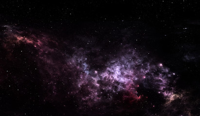 Glowing space nebula and stars in deep space