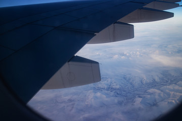 Snowy Mountains in Siberia, view from airplane