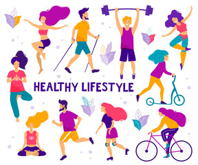 Healthy lifestyle. Different physical activities: running, roller skates, bodybuilding, yoga, fitness, scooter, nordic walking. Flat vector illustration.