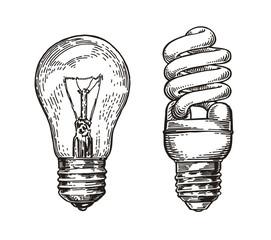 Lightbulb sketch. Energy, electric light bulb, electricity concept. Hand drawn vector illustration