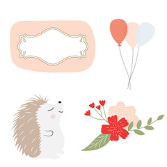 Graphic elements for greeting card. Vector hedgehog, balloons, flowers and frames. Greeting card elements in pastel colors