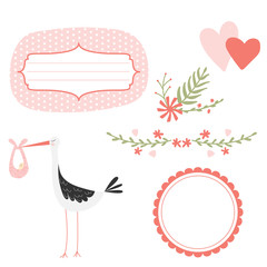 Graphic elements for greeting card. Vector stork, heart, flowers and frames. Greeting card elements in pastel colors