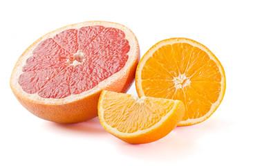 ripe half of grapefruit and orange