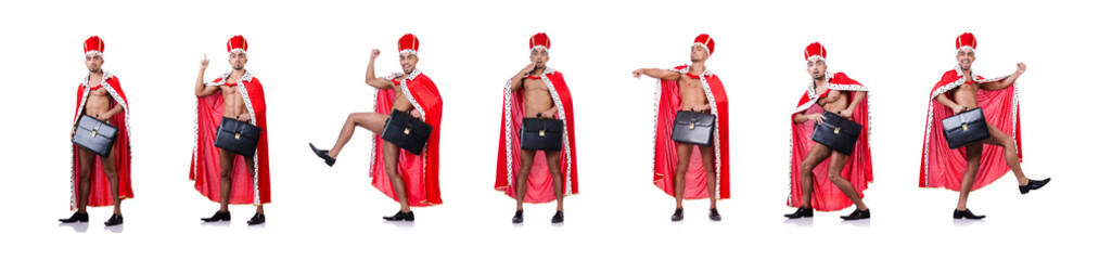 Naked king businessman isolated on the white