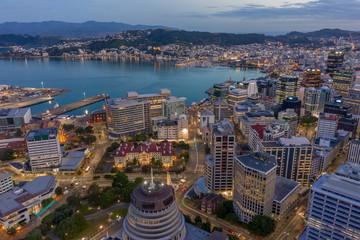 Wellington city at Twilight. high angle view