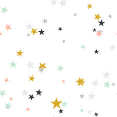 Seamless abstract background with stars. Infinity messy geometric pattern. Vector illustration.