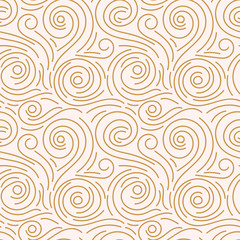Abstract hand drawn doodle thin line wavy seamless pattern. Curly linear messy background. Vector illustration.