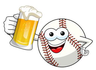 baseball ball character mascot cartoon vector beer mug isolated