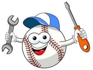 baseball ball character mascot cartoon vector repairman isolated