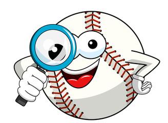 baseball ball character mascot cartoon magnifying glass vector isolated