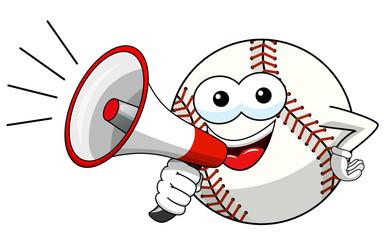baseball ball character mascot cartoon speaking megaphone vector isolated