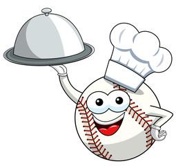 baseball ball character mascot cartoon tray cook vector isolated