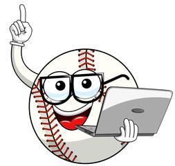 baseball ball character mascot cartoon nerd, laptop vector isolated