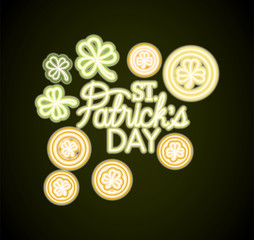 st patricks day neon label with coins and clovers