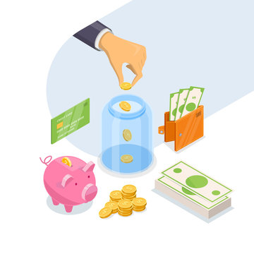 Money savings and bank deposit business concept. Vector 3d isometric illustration isolated on white background