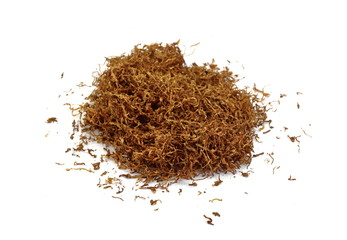 A pile of tobacco isolated pn white.