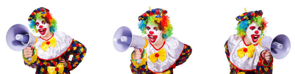 Funny male clown with megaphone  Wall mural