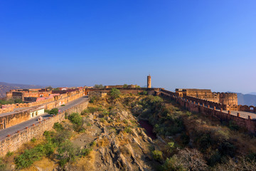 Beautiful Jaigarh Fort stands on the edge of the Aravalli Hills at Jaipur in the Indian state of Rajasthan, India.
