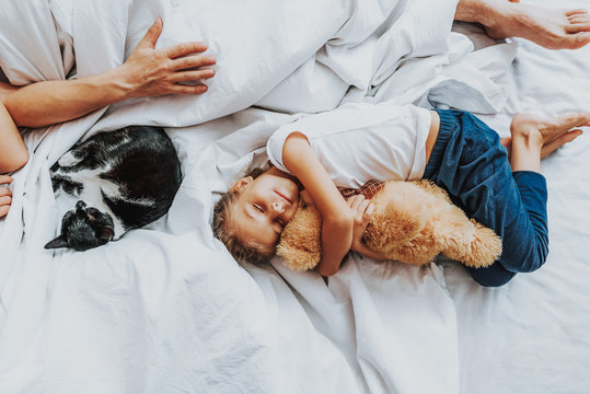 Little girl sleeping with teddy bear in parents bed