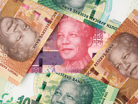 Various South Africa rand banknotes. South African money currency. South Africa economy..