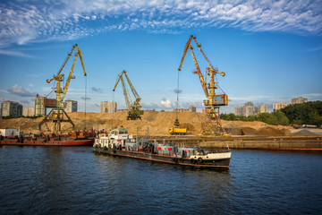 Cargo port on the river