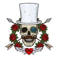 Skull. Valentine skull. The skull of the gentleman. Illustration for Valentine's day.