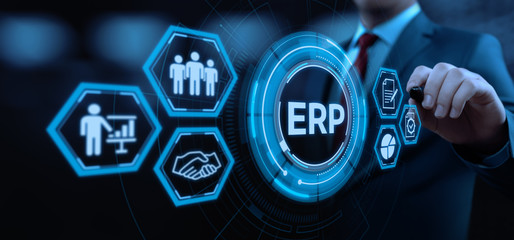 Enterprise Resource Planning ERP Corporate Company Management Business Internet Technology Concept