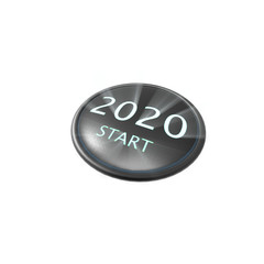 3d rendering of 2020 start button concept of new year