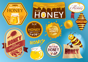 Natural Honey Seal and Artwork Label Collection (Vector Art)