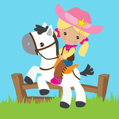 Cowgirl vector cartoon illustration
