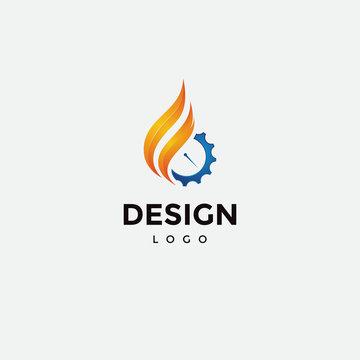 Vector logo design, fire icon,and gear