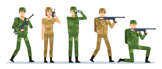 Group of male and female military people showing various actions. Military operation concept. Flat design vector illustration