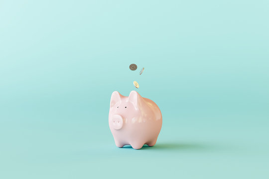 Pink piggy bank with coins on pastel blue background. 3d rendering