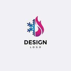 Vector logo design,icon Colorful fire and cold snow