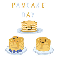 Cute pancake day breakfast vector illustration. Hand drawn motif set of stack of delicious pancakes on plate with maple syrup dripping. Creative text lettering. Food clipart for foodie celebration.