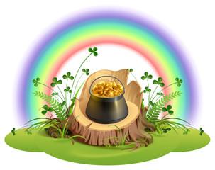 St. Patrick Day. Pot of gold coins on stump under rainbow