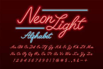 Glowing neon light alphabet