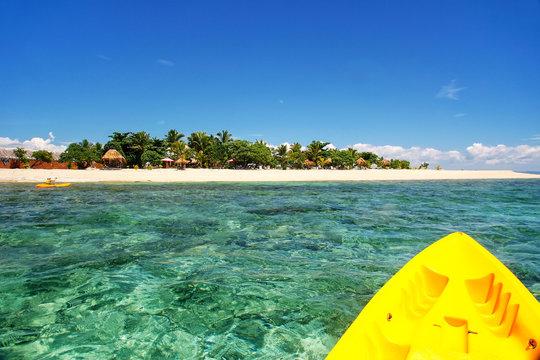 Kayaking near South Sea Island, Mamanuca islands group, Fiji